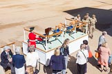 The Colonel's Review 2015: The dais will be assembled and moved into places after the first of the Royal coaches have arrived.. Horse Guards Parade, Westminster, London,  United Kingdom, on 06 June 2015 at 09:36, image #20