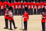The Colonel's Review 2015: The uncasing of the colour. From left to right: Sentry Lance Corporal Purvis, drummer Lance Corporal Wolfendon, Sergeant Cunningham with the colour, and sentry Lance Corporal Carr.. Horse Guards Parade, Westminster, London,  United Kingdom, on 06 June 2015 at 10:34, image #101