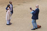 Father and daughter having their photo taken before The Colonel's Review 2018 (final rehearsal for Trooping the Colour, The Queen's Birthday Parade)  at Horse Guards Parade, Westminster, London, 2 June 2018, 09:28.