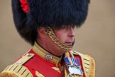 Close-up of Drum Major Scott Fitzgerald, Coldstream Guards, during The Colonel's Review 2018 (final rehearsal for Trooping the Colour, The Queen's Birthday Parade)  at Horse Guards Parade, Westminster, London, 2 June 2018, 10:07.