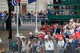 The Band of the Welsh Guards in the background, turning from The Mall to Horse Guards Parade during The Colonel's Review 2018 (final rehearsal for Trooping the Colour, The Queen's Birthday Parade)  at Horse Guards Parade, Westminster, London, 2 June 2018, 10:11.