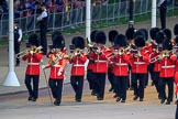 The Band of the Welsh Guards marching from The Mall to Horse Guards Parade, past the Youth Enclosure, during The Colonel's Review 2018 (final rehearsal for Trooping the Colour, The Queen's Birthday Parade)  at Horse Guards Parade, Westminster, London, 2 June 2018, 10:11.