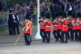 The Band of the Welsh Guards marching from The Mall to Horse Guards Parade, past the Youth Enclosure, during The Colonel's Review 2018 (final rehearsal for Trooping the Colour, The Queen's Birthday Parade)  at Horse Guards Parade, Westminster, London, 2 June 2018, 10:12.
