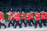 The Band of the Welsh Guards  marching past Green Park during The Colonel's Review 2018 (final rehearsal for Trooping the Colour, The Queen's Birthday Parade)  at Horse Guards Parade, Westminster, London, 2 June 2018, 10:12.