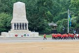 The Band of the Welsh Guards marching past the Guards Memorial during The Colonel's Review 2018 (final rehearsal for Trooping the Colour, The Queen's Birthday Parade)  at Horse Guards Parade, Westminster, London, 2 June 2018, 10:12.