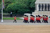 The Band of the Welsh Guards marching past the Guards Memorial during The Colonel's Review 2018 (final rehearsal for Trooping the Colour, The Queen's Birthday Parade)  at Horse Guards Parade, Westminster, London, 2 June 2018, 10:13.