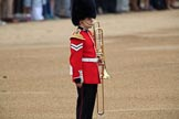 A musician of the Band of the Welsh Guards marking the destination for the arriving band during The Colonel's Review 2018 (final rehearsal for Trooping the Colour, The Queen's Birthday Parade)  at Horse Guards Parade, Westminster, London, 2 June 2018, 10:13.