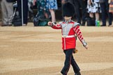 Duty Drummer  Sam Orchard is marching forward to uncase the Colour during The Colonel's Review 2018 (final rehearsal for Trooping the Colour, The Queen's Birthday Parade)  at Horse Guards Parade, Westminster, London, 2 June 2018, 10:33.