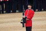 Colour Sentry Guardsman Sean Cunningham (21) saluting the Colour during The Colonel's Review 2018 (final rehearsal for Trooping the Colour, The Queen's Birthday Parade)  at Horse Guards Parade, Westminster, London, 2 June 2018, 10:33.