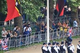 The Youth Enclosure early in the morning, before Trooping the Colour 2018, The Queen's Birthday Parade at Horse Guards Parade, Westminster, London, 9 June 2018, 08:49.