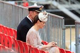 Royal Navy Officer with his wife before Trooping the Colour 2018, The Queen's Birthday Parade at Horse Guards Parade, Westminster, London, 9 June 2018, 09:09.