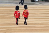 Two Irish Guards officers, the London Central Garrison Commander Lieutenant Colonel W J Duggan,  and Colonel Foot Guards, Lieutenant Colonel P C A McMullen, marching towards Horse Guards Arch before Trooping the Colour 2018, The Queen's Birthday Parade at Horse Guards Parade, Westminster, London, 9 June 2018, 09:12.