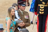 Army officer with wife and son before Trooping the Colour 2018, The Queen's Birthday Parade at Horse Guards Parade, Westminster, London, 9 June 2018, 09:19.