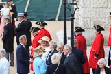 A group of Chelsea Pensioners arriving for Trooping the Colour 2018, The Queen's Birthday Parade at Horse Guards Parade, Westminster, London, 9 June 2018, 09:29.
