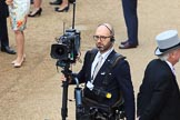 BBC Steadycam operator before during Trooping the Colour 2018, The Queen's Birthday Parade at Horse Guards Parade, Westminster, London, 9 June 2018, 09:36.