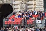 Grand stand C before at the Old Admiralty Building before Trooping the Colour 2018, The Queen's Birthday Parade at Horse Guards Parade, Westminster, London, 9 June 2018, 09:38.