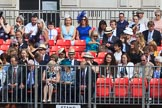 Grand stand C, with smartly dressed spectators, before Trooping the Colour 2018, The Queen's Birthday Parade at Horse Guards Parade, Westminster, London, 9 June 2018, 09:46.
