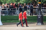The Ensign, 2nd Lieutenant Felix Tracey, and The Captain of the Guard, Major Hamish Hardy, Number Five Guard, Nijmegen Company, Grenadier Guards, marching to Horse Guards Parade before Trooping the Colour 2018, The Queen's Birthday Parade at Horse Guards Parade, Westminster, London, 9 June 2018, 09:48.