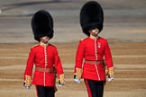 The Ensign, 2nd Lieutenant Felix Tracey, and The Captain of the Guard, Major Hamish Hardy, Number Five Guard, Nijmegen Company, Grenadier Guards, marching to Horse Guards Parade before Trooping the Colour 2018, The Queen's Birthday Parade at Horse Guards Parade, Westminster, London, 9 June 2018, 09:50.
