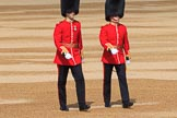 The Captain of the Guard, Major Tom F W Mortensen and The Ensign, Lieutenant Thomas Strachan (26), Number Six Guard, F Company, Scots Guards, before Trooping the Colour 2018, The Queen's Birthday Parade at Horse Guards Parade, Westminster, London, 9 June 2018, 09:54.