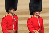 The Captain of the Guard, Major Tom F W Mortensen and The Ensign, Lieutenant Thomas Strachan (26) of Number Six Guard, F Company, Scots Guards marching to Horse Guards Parade before Trooping the Colour 2018, The Queen's Birthday Parade at Horse Guards Parade, Westminster, London, 9 June 2018, 09:54.