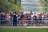 Spectators watching from St James's Park, with St James's Park Lake in the background, during Trooping the Colour 2018, The Queen's Birthday Parade at Horse Guards Parade, Westminster, London, 9 June 2018, 09:57.