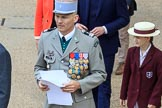 Colonel Armel Dirou, Chef de Corps, Commandant du 4ème régiment, French Army, at Trooping the Colour 2018, The Queen's Birthday Parade at Horse Guards Parade, Westminster, London, 9 June 2018, 09:59.