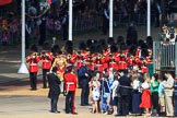 The Band of the Welsh Guards marching from The Mall towards Horse Guards Parade before Trooping the Colour 2018, The Queen's Birthday Parade at Horse Guards Parade, Westminster, London, 9 June 2018, 10:12.