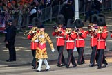 The Band of the Welsh Guards, led by Senior Drum Major Damian Thomas, Grenadier Guards, marching past the Youth Enclosure before Trooping the Colour 2018, The Queen's Birthday Parade at Horse Guards Parade, Westminster, London, 9 June 2018, 10:12.