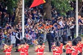 The crowded Youth Enclosure, with the Band of the Welsh Guards marching past, before Trooping the Colour 2018, The Queen's Birthday Parade at Horse Guards Parade, Westminster, London, 9 June 2018, 10:12.