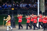The Band of the Welsh Guards, led by Senior Drum Major Damian Thomas, Grenadier Guards. marching past the Youth Enclosure during Trooping the Colour 2018, The Queen's Birthday Parade at Horse Guards Parade, Westminster, London, 9 June 2018, 10:12.