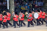 The Band of the Welsh Guards marching past the Youth Enclosure during Trooping the Colour 2018, The Queen's Birthday Parade at Horse Guards Parade, Westminster, London, 9 June 2018, 10:12.