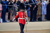 A musician from the Band of the Welsh Guards marching onto Horse Guards Parade to mark the destination for the band during Trooping the Colour 2018, The Queen's Birthday Parade at Horse Guards Parade, Westminster, London, 9 June 2018, 10:12.