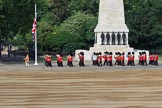 The Band of the Welsh Guards. led by Senior Drum Major Damian Thomas, Grenadier Guards, marching past the Guards Memorial during Trooping the Colour 2018, The Queen's Birthday Parade at Horse Guards Parade, Westminster, London, 9 June 2018, 10:13.