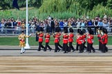The Band of the Welsh Guards. led by Senior Drum Major Damian Thomas, Grenadier Guards, turning onto Horse Guards Parade during Trooping the Colour 2018, The Queen's Birthday Parade at Horse Guards Parade, Westminster, London, 9 June 2018, 10:13.