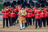 Senior Drum Major Damian Thomas, Grenadier Guards, leading the Band of the Welsh Guards onto Horse Guards Parade during Trooping the Colour 2018, The Queen's Birthday Parade at Horse Guards Parade, Westminster, London, 9 June 2018, 10:13.