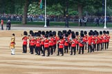Senior Drum Major Damian Thomas, Grenadier Guards, leading the Band of the Welsh Guards to their position on Horse Guards Parade during Trooping the Colour 2018, The Queen's Birthday Parade at Horse Guards Parade, Westminster, London, 9 June 2018, 10:14.