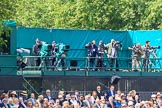 Mountbatton press stand, with TV camera crews and photographers, during Trooping the Colour 2018, The Queen's Birthday Parade at Horse Guards Parade, Westminster, London, 9 June 2018, 10:15.