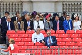 Grand stand H, reserved for foreign dignitaries and diplomats, is filling up before Trooping the Colour 2018, The Queen's Birthday Parade at Horse Guards Parade, Westminster, London, 9 June 2018, 10:16.