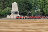 The Band of the Scots Guards marching past the Guards Memorial before Trooping the Colour 2018, The Queen's Birthday Parade at Horse Guards Parade, Westminster, London, 9 June 2018, 10:17.