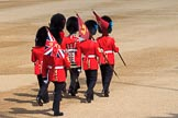 The Keepers of the Ground marching onto Horse Guards Parade to mark the position of their guards before Trooping the Colour 2018, The Queen's Birthday Parade at Horse Guards Parade, Westminster, London, 9 June 2018, 10:17.