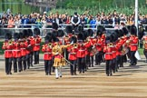 Drum Major Jonny Stranix, 1st Battalion Scots Guards, leading the Band of the Scots Guards onto Horse Guards Parade before Trooping the Colour 2018, The Queen's Birthday Parade at Horse Guards Parade, Westminster, London, 9 June 2018, 10:18.