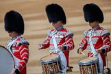 The Band of the Scots Guards drummers, with a Rod Tension Bass Drum and High Tension Drums during Trooping the Colour 2018, The Queen's Birthday Parade at Horse Guards Parade, Westminster, London, 9 June 2018, 10:19.