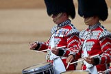 The Band of the Scots Guards drummers with High Tension Drums during Trooping the Colour 2018, The Queen's Birthday Parade at Horse Guards Parade, Westminster, London, 9 June 2018, 10:19.