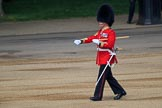 Garrison Sergeant Major (GSM) Headquarters London District, Warrant Officer Class 1 Andrew (Vern) Strokes checking everyone and everything is up to his expectations before Trooping the Colour 2018, The Queen's Birthday Parade at Horse Guards Parade, Westminster, London, 9 June 2018, 10:20.