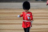 Garrison Sergeant Major (GSM) Headquarters London District, Warrant Officer Class 1 Andrew (Vern) Strokes checking everyone and everything is up to his expectations before Trooping the Colour 2018, The Queen's Birthday Parade at Horse Guards Parade, Westminster, London, 9 June 2018, 10:21.