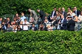 Spectators on the ivy clad Admiralty Citadel before Trooping the Colour 2018, The Queen's Birthday Parade at Horse Guards Parade, Westminster, London, 9 June 2018, 10:22.