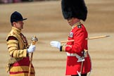 Garrison Sergeant Major (GSM) Headquarters London District, Warrant Officer Class 1 Andrew (Vern) Strokes meets Senior Drum Major Damian Thomas, Grenadier Guards, before Trooping the Colour 2018, The Queen's Birthday Parade at Horse Guards Parade, Westminster, London, 9 June 2018, 10:22.