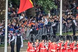 The crowded Youth Enclosure, with Number Six Guard, F Company, Scots Guards marching past, during Trooping the Colour 2018, The Queen's Birthday Parade at Horse Guards Parade, Westminster, London, 9 June 2018, 10:24.