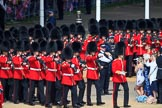 Number Six Guard, F Company, Scots Guards, led by The Subaltern, Captain William Dalton Hall (27),  arrives first on Horse Guards Parade during Trooping the Colour 2018, The Queen's Birthday Parade at Horse Guards Parade, Westminster, London, 9 June 2018, 10:25.